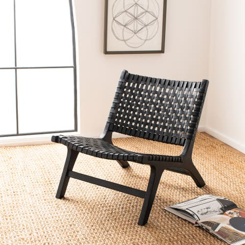 "Safavieh Luna Leather Woven Accent Chair - 25.2"" W x 31.5"" L x 26.8"" H"