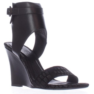 Joie Waylen Ankle Strap Wedge Sandals, Black Leather