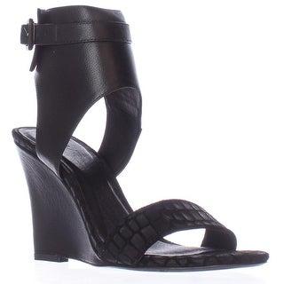 Joie Waylen Ankle Strap Wedge Sandals, Black Leather