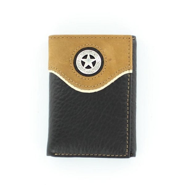 Nocona Western Wallet Mens Trifold Star Concho Black Tan - One size