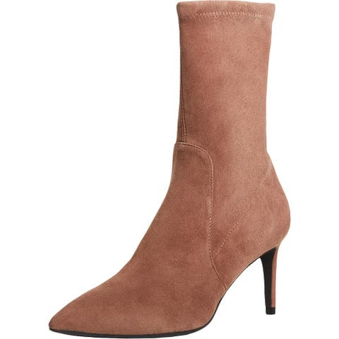 Stuart Weitzman Womens Wren 75 Ankle Boots Suede Pointed Toe - Taupe
