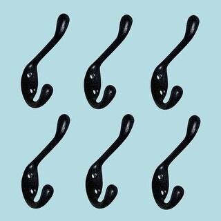 6 Hook Wrought Iron Black Double 3