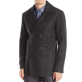 Kenneth Cole Reaction NEW Gray Mens Size XL Peacoat Faux-Leather Coat