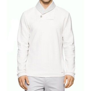 Calvin Klein NEW White Mens Size Large L Shawl-Collar Ribbed Sweater