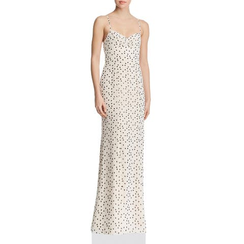 Fame And Partners Womens Evening Dress Polka Dot Maxi - Soir Champagne