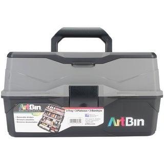 "9""X15.75""X8.375""; Black & Gray-Lift Tray Box W/3 Trays, Quick Access Lid Storage"
