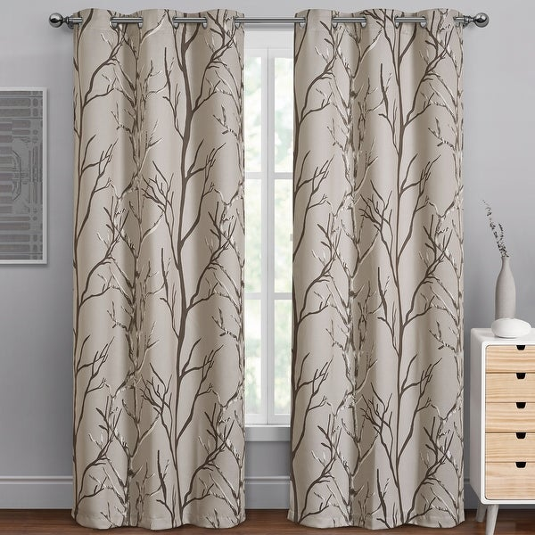 """VCNY Home Kingdom Branch Blackout Curtain Panel - 40"""" x 84"""". Opens flyout."""