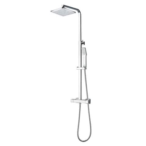Eviva Liri Chrome Thermostatic Square Shower Column