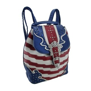 American Flag Rhinestone Buckle Western Style Backpack Purse