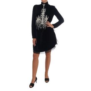 Dolce & Gabbana Black Mock-Neck Crystal Chandelier Dress