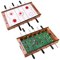 Costway 2 In 1 Table Game Air Hockey Foosball Table Christmas Gift For Kids In/Outdoor