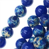 Impression Jasper Gemstone Beads, Round 6mm, 15 Inch Strand, Lapis Blue