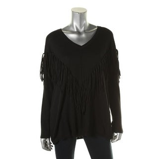 DKNY Jeans Womens Fringed V-Neck Pullover Sweater