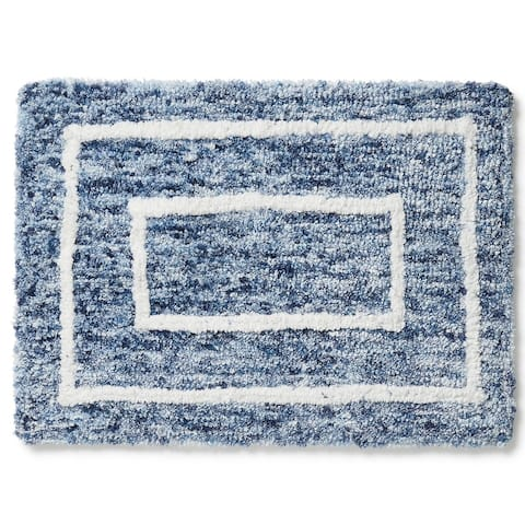 Americanflat Bath Mat Double Rectangle Design Soft and Absorbent
