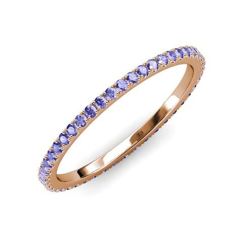 TriJewels Tanzanite 5/8 ctw French Set Women Eternity Ring 14K Gold