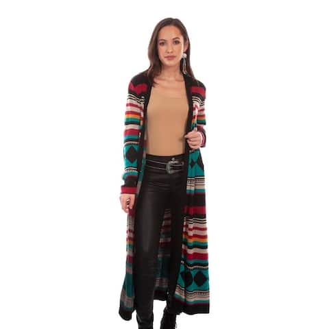 Scully Western Cardigan Womens Long Sleeve Knit Duster Multi - Multi-Color