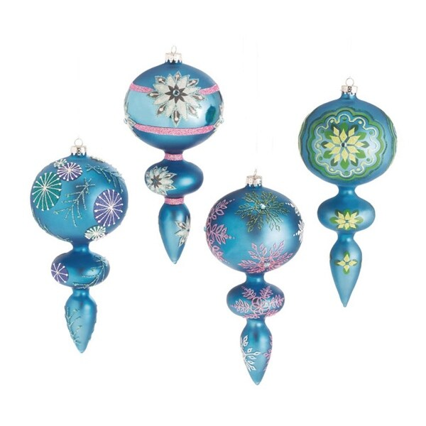 Set Of 4 Dazzling Blue Snowflake Design Glass Finial Christmas Ornaments 7