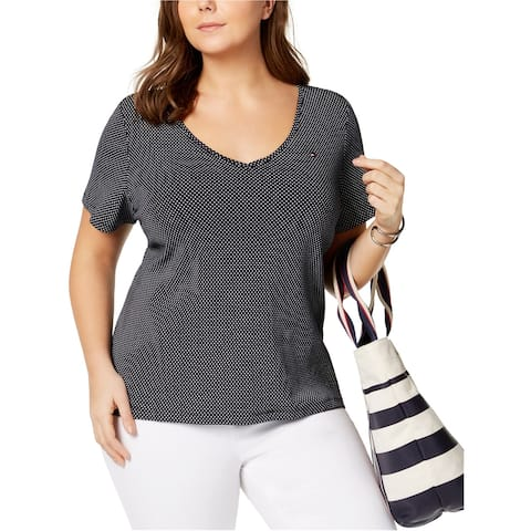 Tommy Hilfiger Womens Polka Dot Basic T-Shirt, Blue, 1X