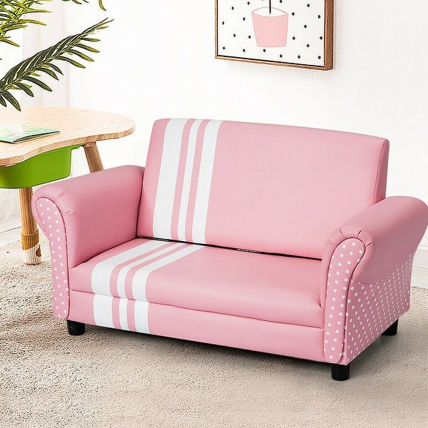 Shop Gymax Pink Foldable Kids Princess Sofa Chair Couch ...