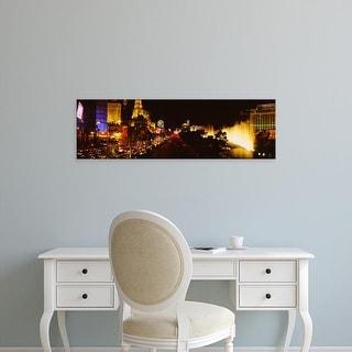 Easy Art Prints Panoramic Images's 'Buildings lit up at night, Las Vegas, Nevada, USA' Premium Canvas Art