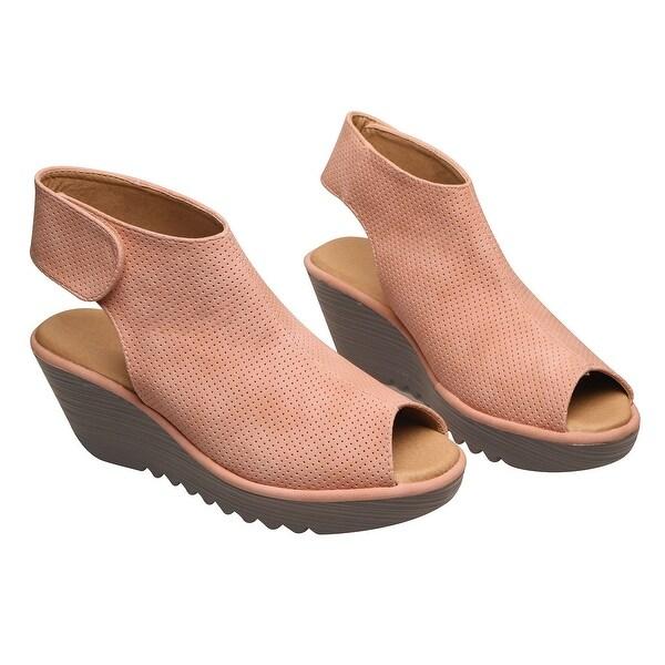 9d4ef5783f9c Avanti Women  x27 s Faux Suede Wedge Sandals - Lightweight Open Toe Ghillie  Shoes
