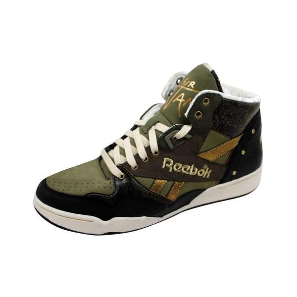 Reebok Men's Sir Jam Mid Black/Green-Gold 4-418159 Size 8
