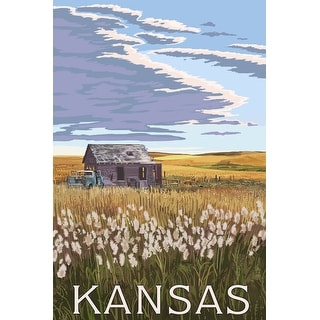 Kansas - Wheat Fields & Homestead - Lantern Press Artwork (Cotton/Polyester Chef's Apron)