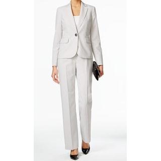 Le Suit NEW White Womens Size 14 Pinstriped One-Button Pant Suit Set