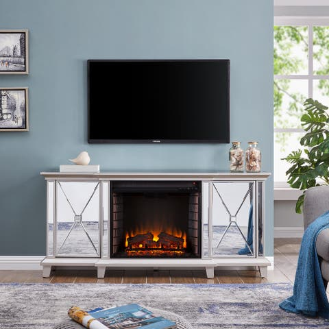 Silver Orchid Talmar Mirrored Fireplace Media Console