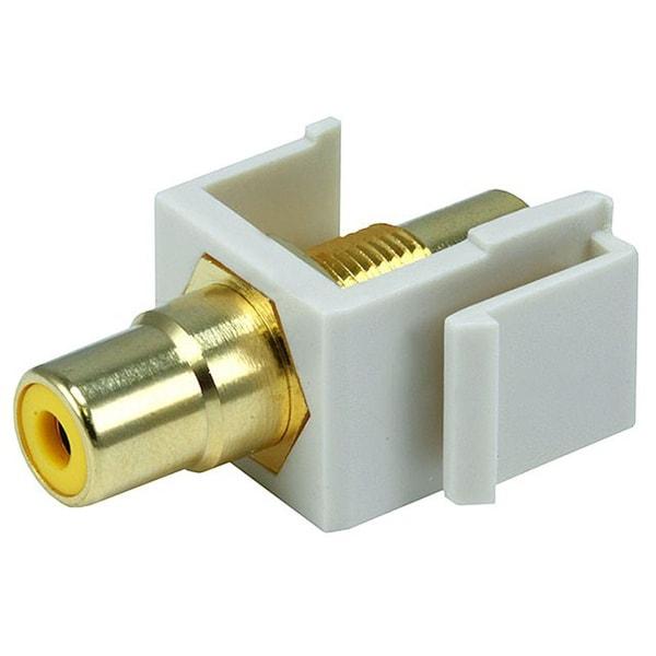 Monoprice Modular RCA Coupler Keystone Jack w/Yellow Center - Ivory