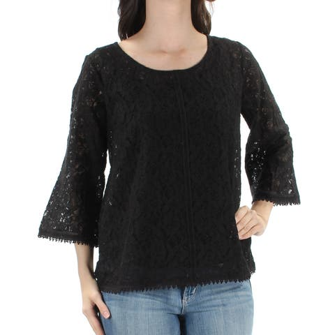 STYLE & CO Womens Black Sheer Lace 2 Pc W/ Cami Floral 3/4 Sleeve Jewel Neck Top Size: XS