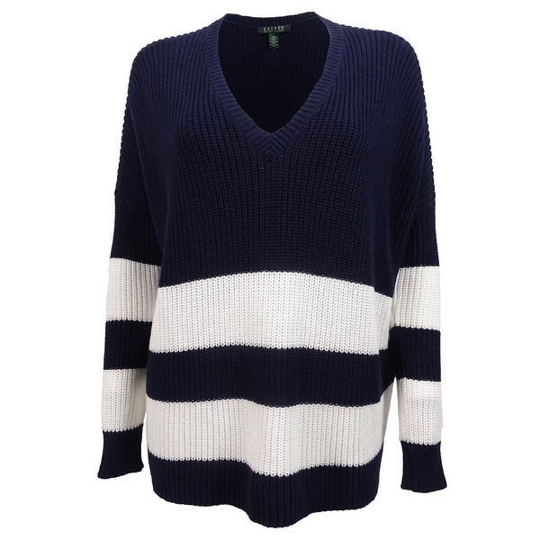 Shop Ralph Lauren Women s V-Neck Striped Overstized Sweater - On Sale - Free  Shipping On Orders Over  45 - Overstock - 15014657 9c6c7d9ad