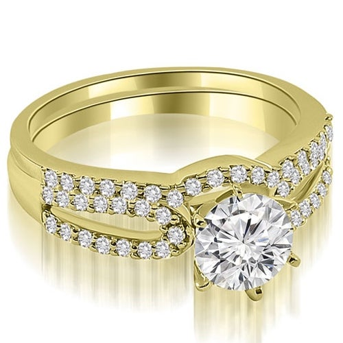 1.40 cttw. 14K Yellow Gold Exquisite Split Shank Round Diamond Bridal Set