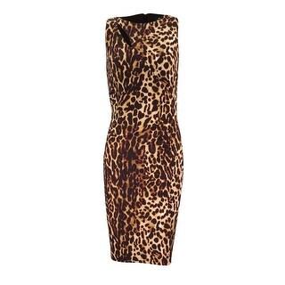 Lauren Ralph Lauren Women's Leopard Printed Ruched Dress - brown tonal