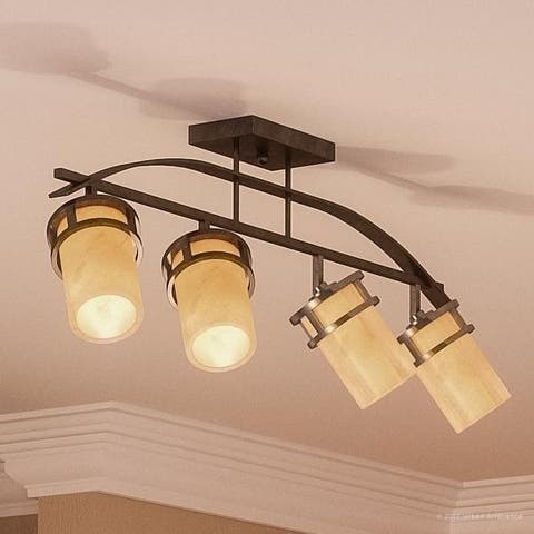 "Luxury Rustic Track Lighting, 14.5""H x 36""W, with Craftsman Style, Banded Wrought Iron Design, Royal Bronze Finish"