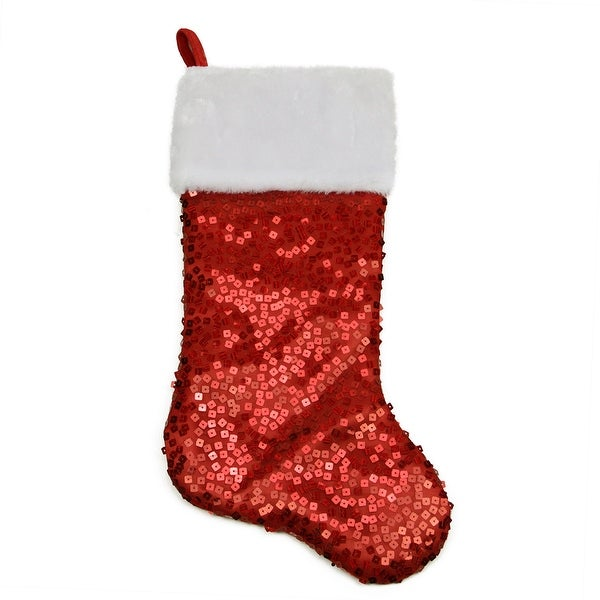 """20.5"""" Shiny Red Holographic Sequined Christmas Stocking with White Faux Fur Cuff"""