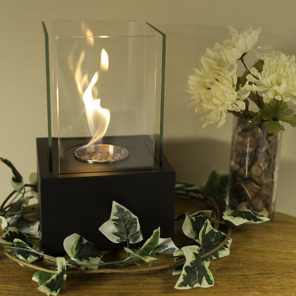 Sunnydaze Cubic Ventless Tabletop Bio Ethanol Fireplace - Multiple Colors Available - Thumbnail 0