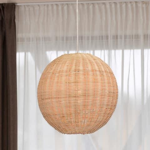 Ellie Cream 1-Light Rattan Globe Basket Pendant Light