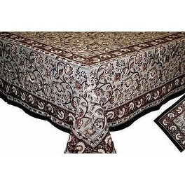 Handmade Dabu Floral Block Print 100-percent Cotton Tablecloth Earth Gray Rectangle Square Round