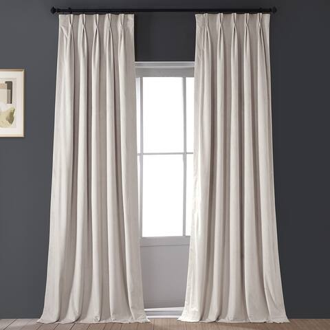 Exclusive Fabrics Signature Pleated Blkt Solid Velvet Curtain Panel