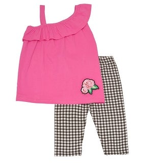 Little Girls Fuchsia One Shoulder Strap Ruffle Top Checker 2 Pc Pant Set