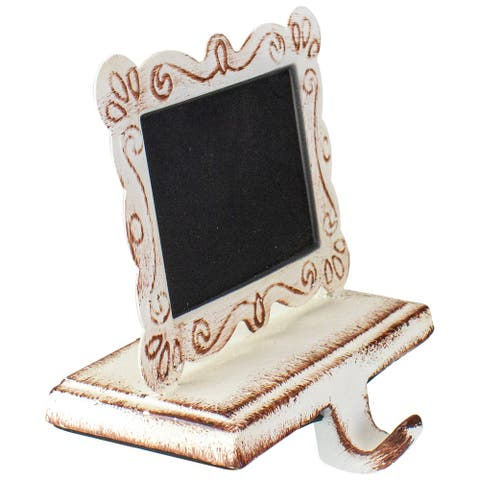 """5.5"""" Metal and Chalkboard Christmas Stocking Holder White, Brown and Black"""