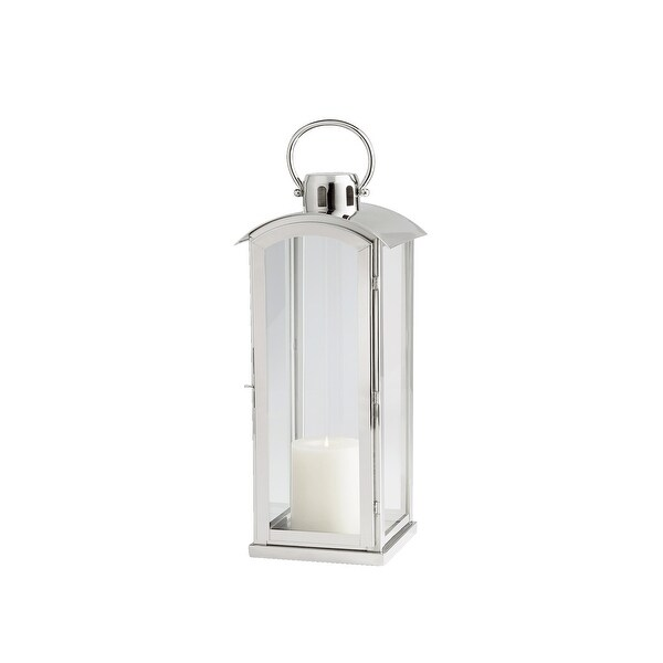 Cyan Design 09747 Wilder Glass and Stainless Steel Lantern Candle Holder - Nickel