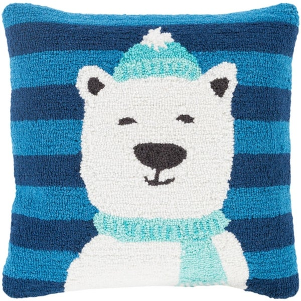 "18"" Navy Blue and Lace White Polar Bear Decorative Holiday Throw Pillow"
