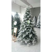 "6.5' x 62"" Pre-Lit Frosted Butte Fir Artificial Christmas Tree - Clear Lights - green"