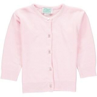 Julius Berger Baby Girls Pink Cotton Cashmere Waist Length Sweater