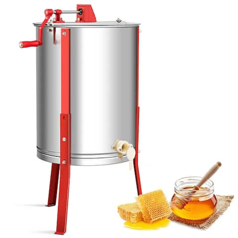 Costway Large 4 Frame Stainless Steel Honey Extractor Honeycom