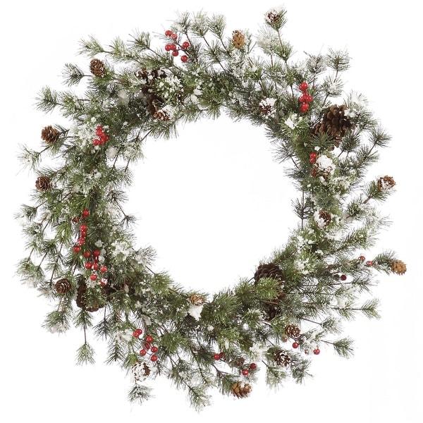 "36"" Snowy Monterey Pine Wreath w/Berries"