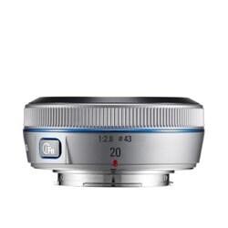 Samsung 20mm NX Pancake lens for NX Series Cameras (Silver) (International Model) No Warranty