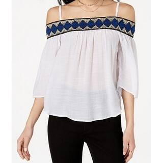 5159d5fa9dfb0 BCX White Size Small S Junior Embroidered Off-Shoulder Knit Top. New  Arrival. Quick View